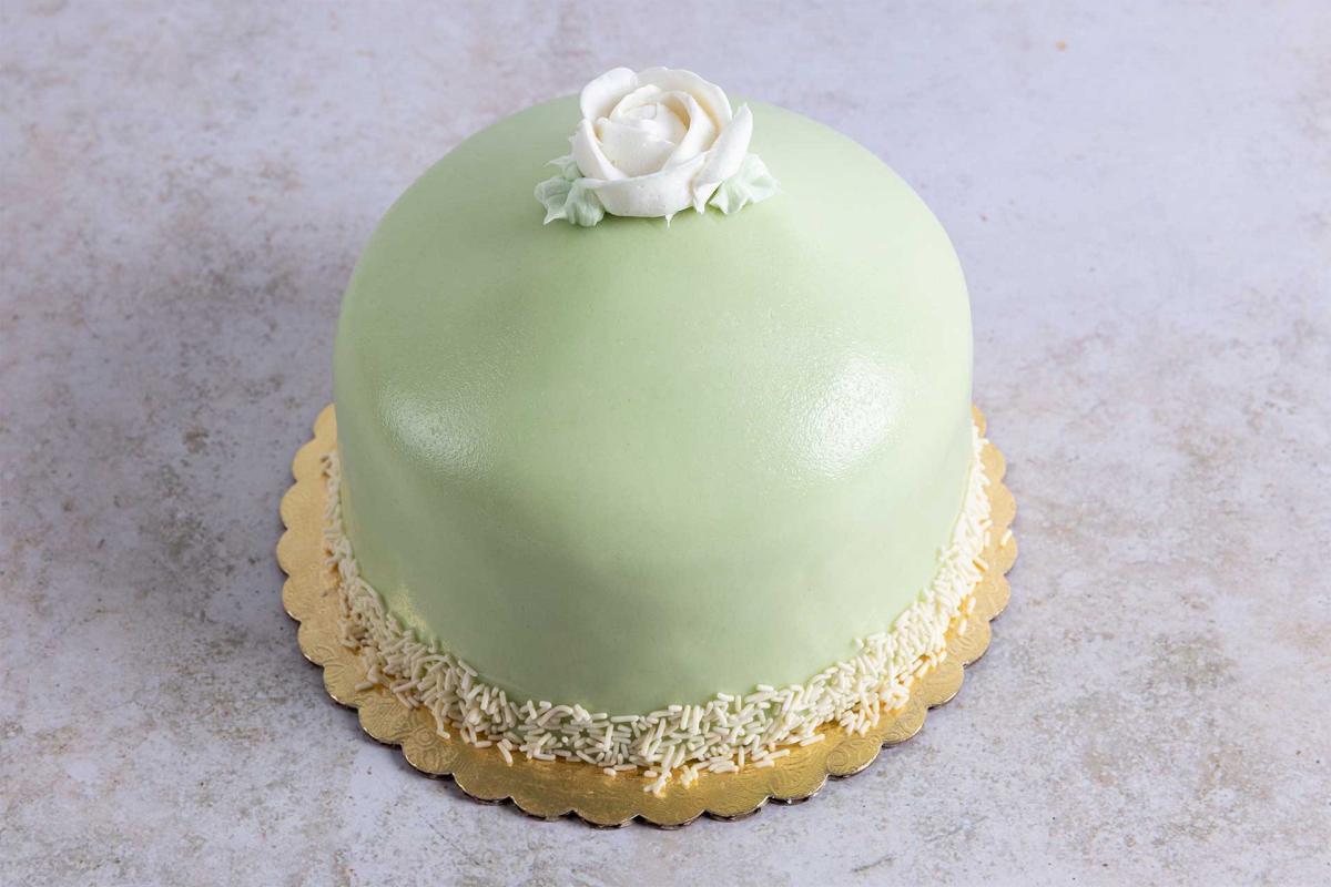 5-inch princess cake with green marzipan