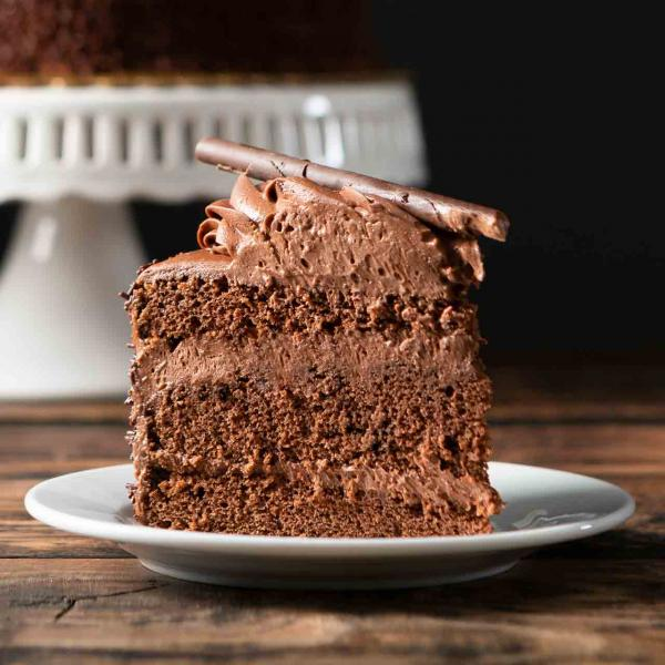 Chocolate mousse cake slice