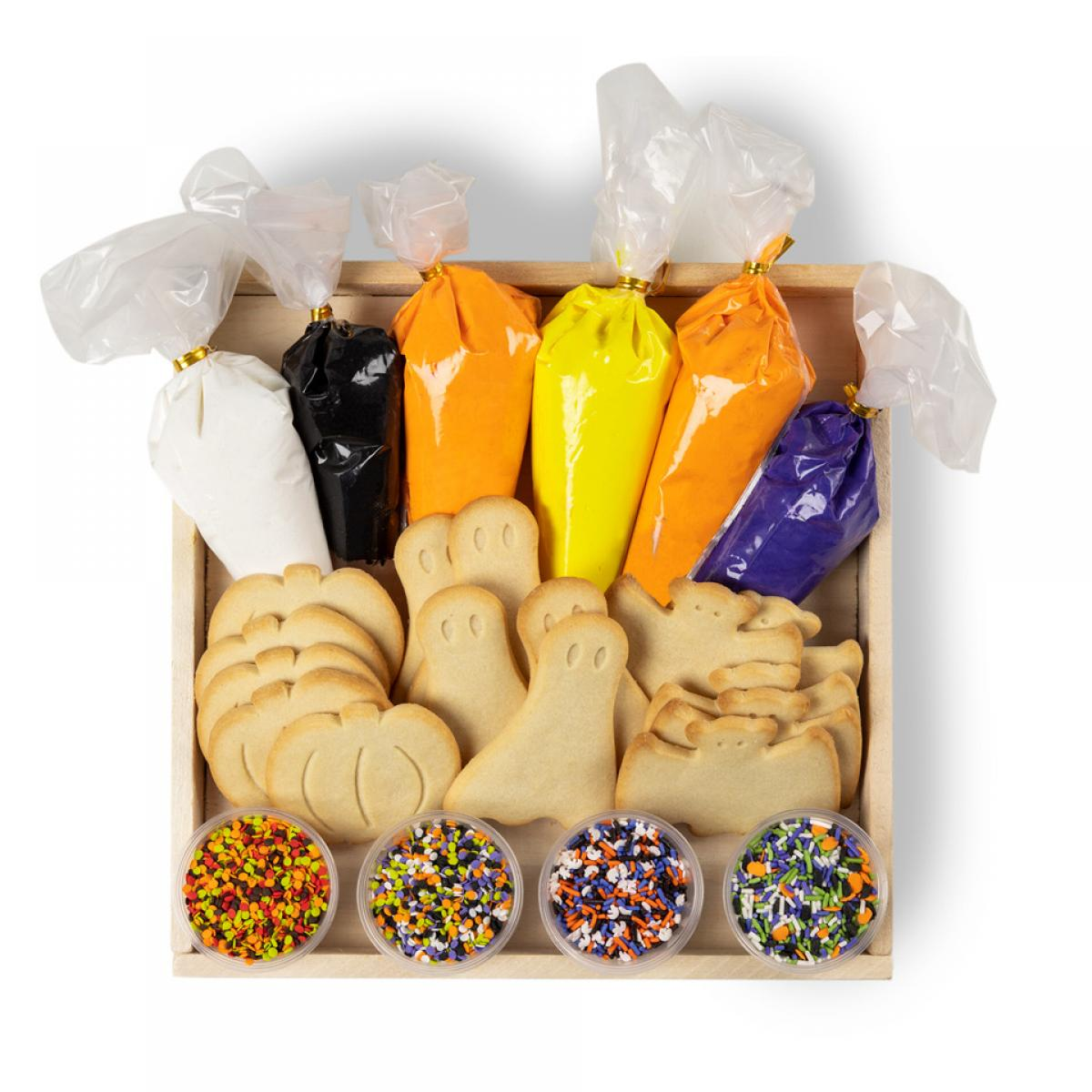 Halloween cookie decorating kit with ghost, bat and pumpkin cookies