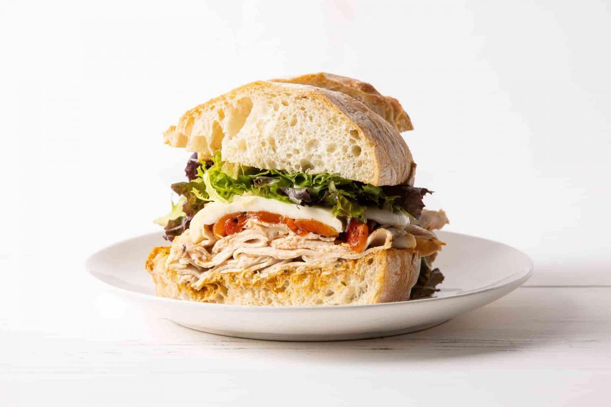 Sliced Calistoga sandwich on a plate