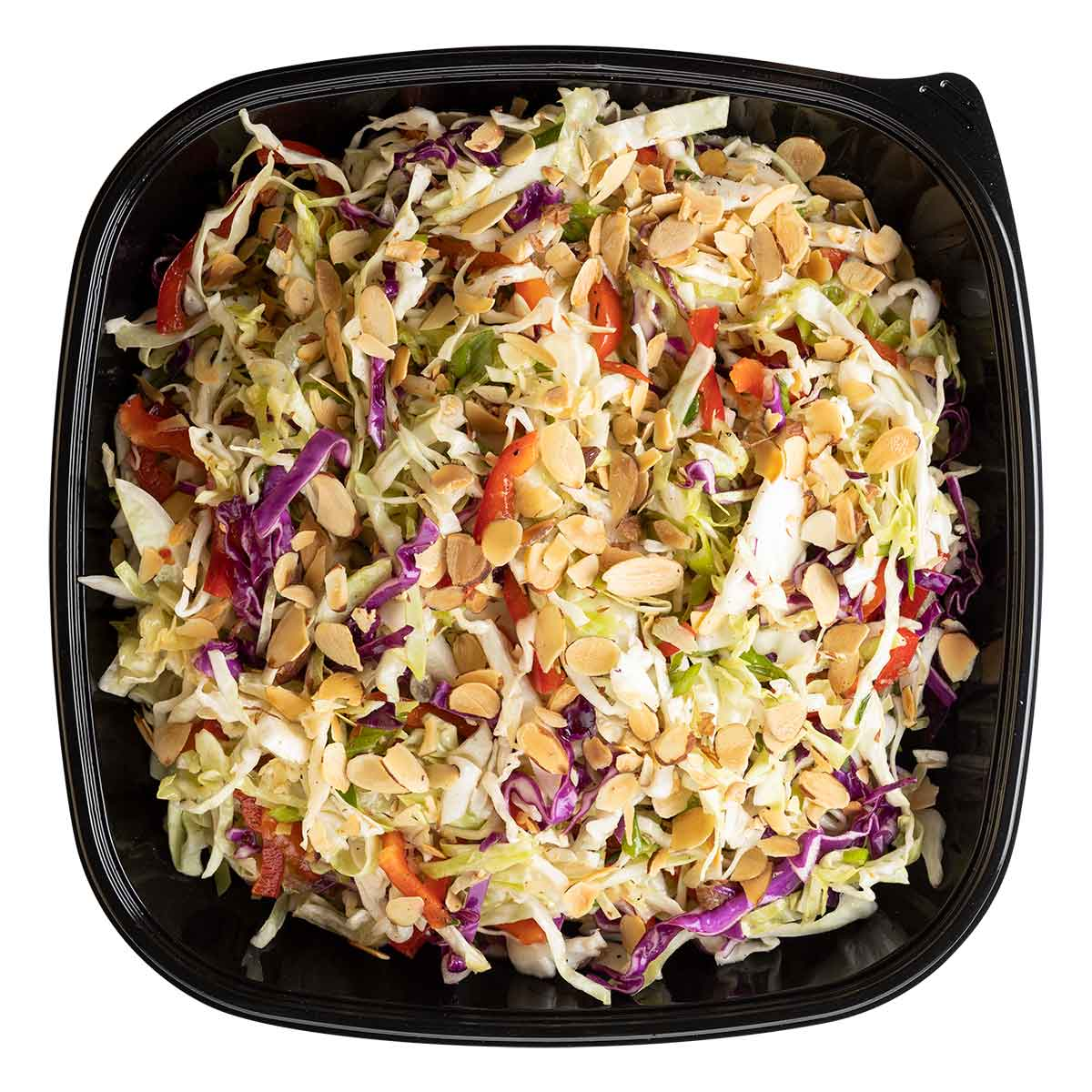 Coleslaw with shaved almonds, red cabbage and bell peppers in a square bowl