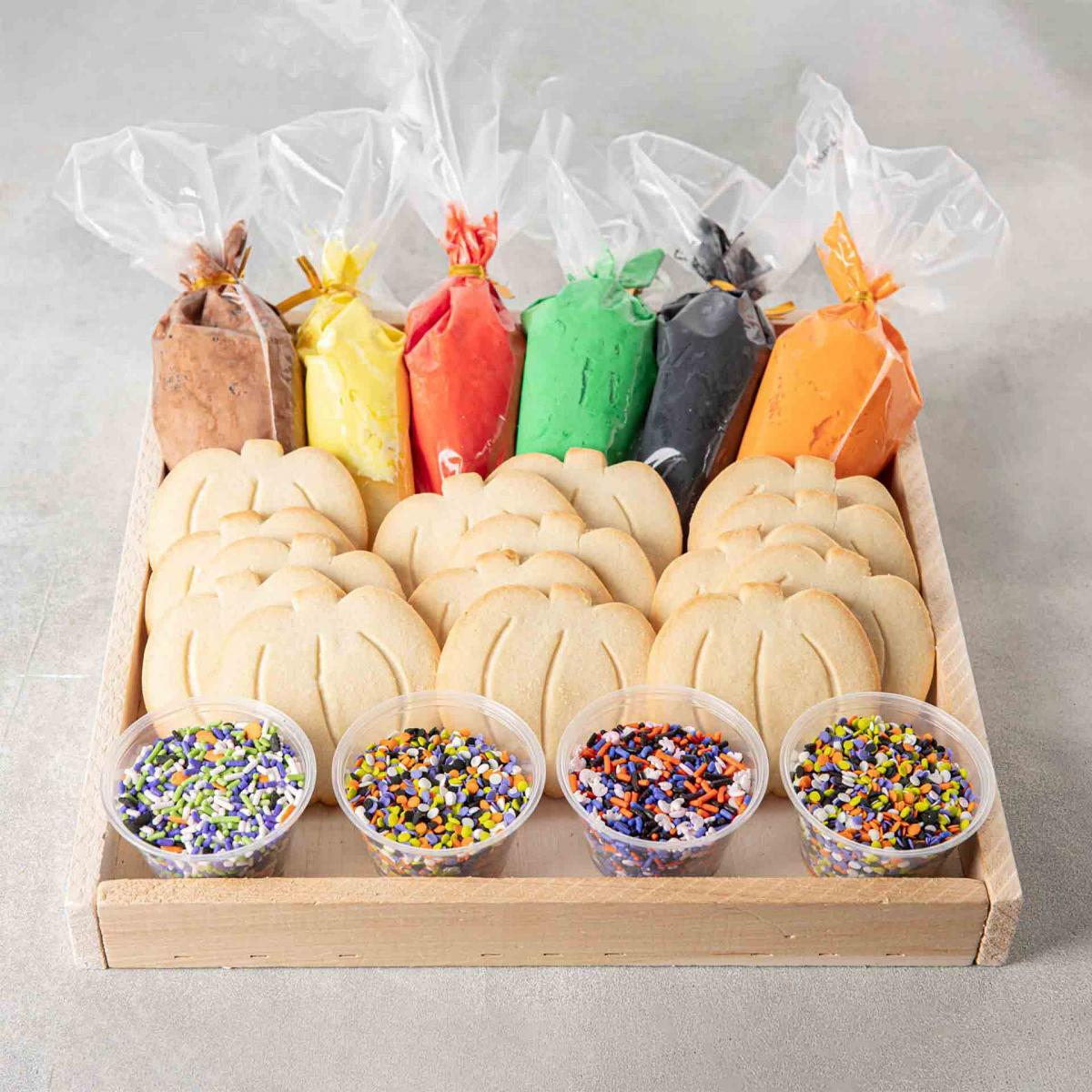 Halloween cookie decorating kit with pumpkin cookies